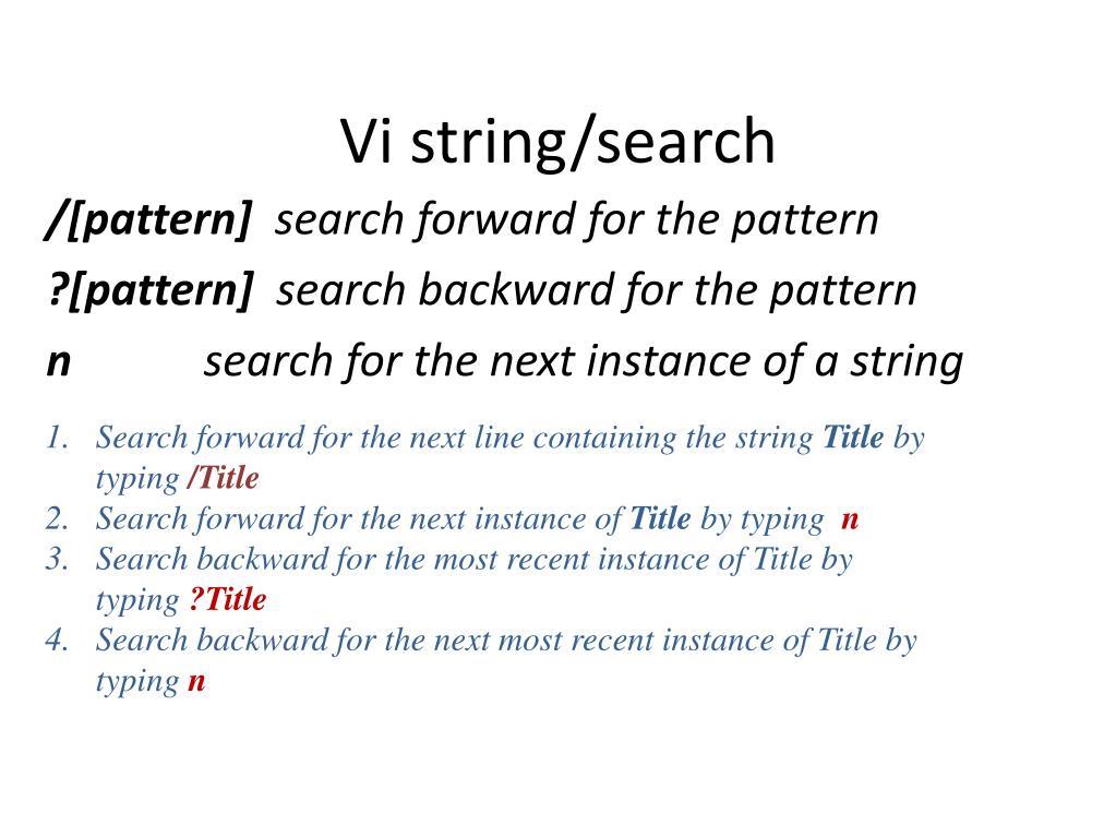 Vi string/search