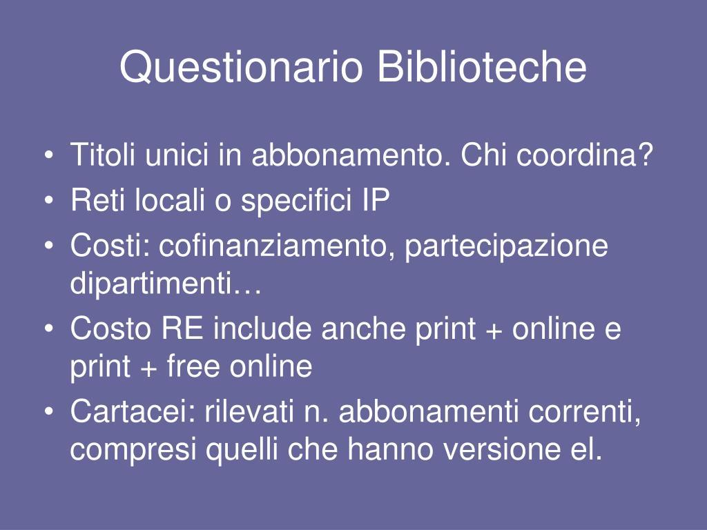 Questionario Biblioteche