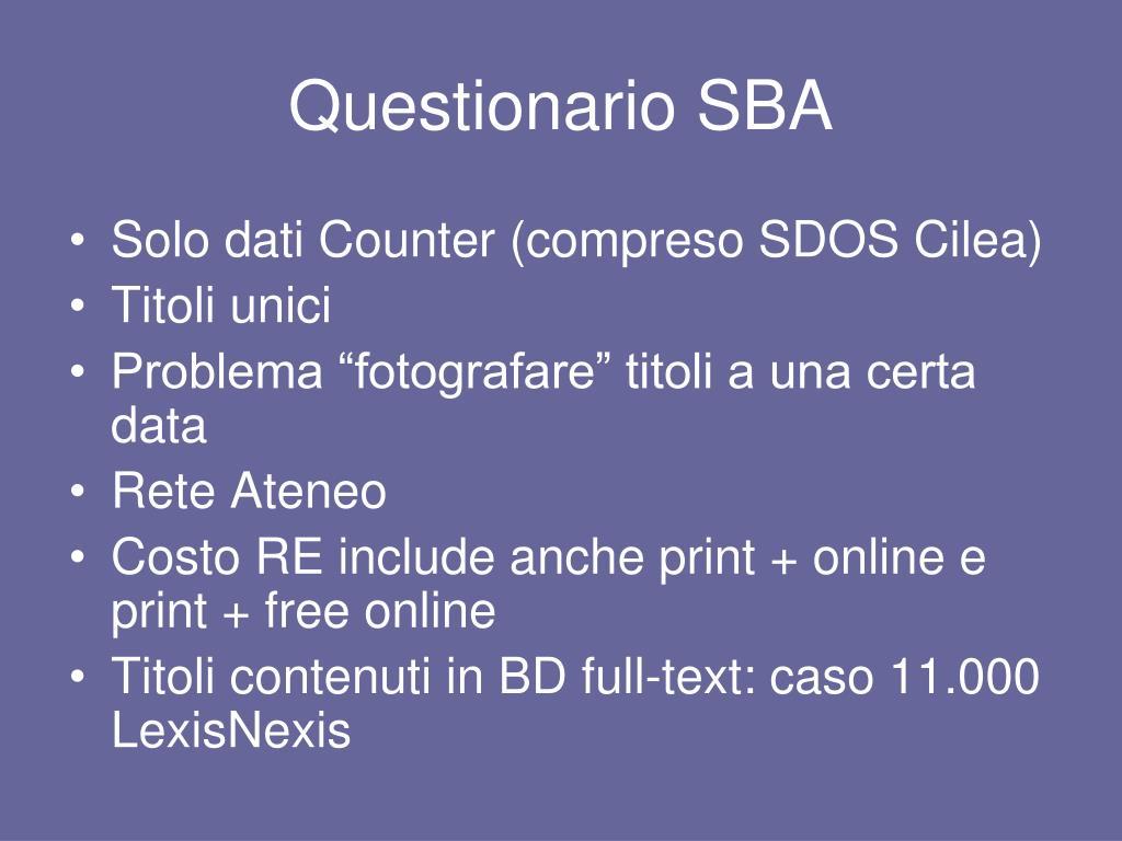 Questionario SBA