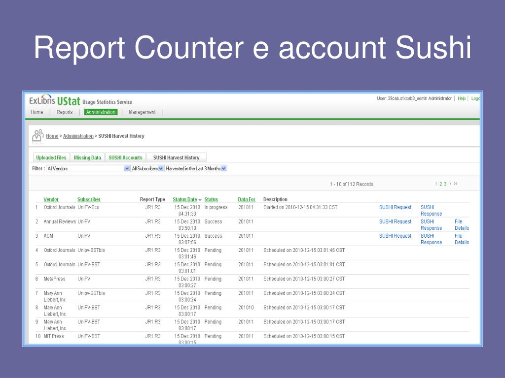 Report Counter e account Sushi