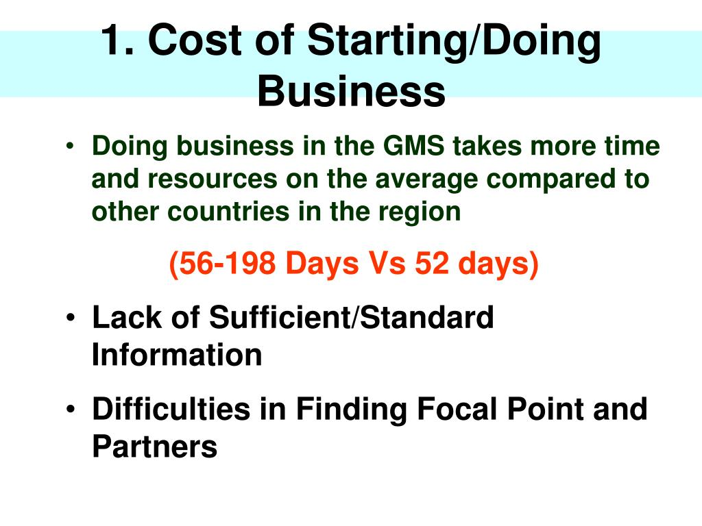 1. Cost of Starting/Doing Business