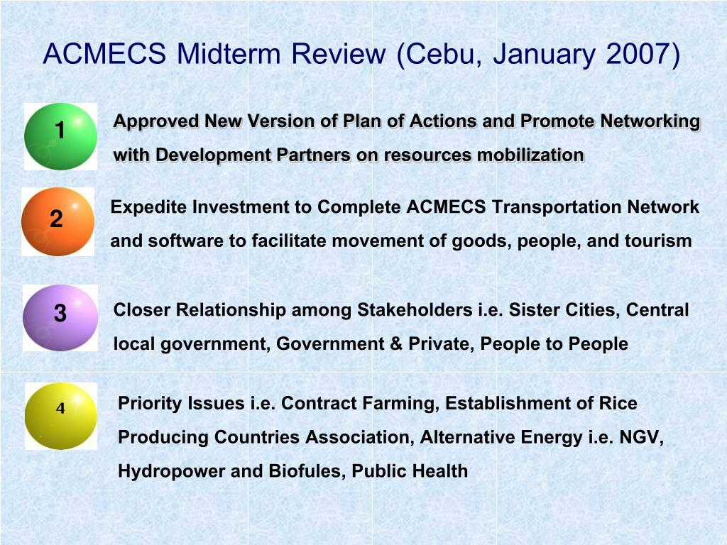 ACMECS Midterm Review (Cebu, January 2007)