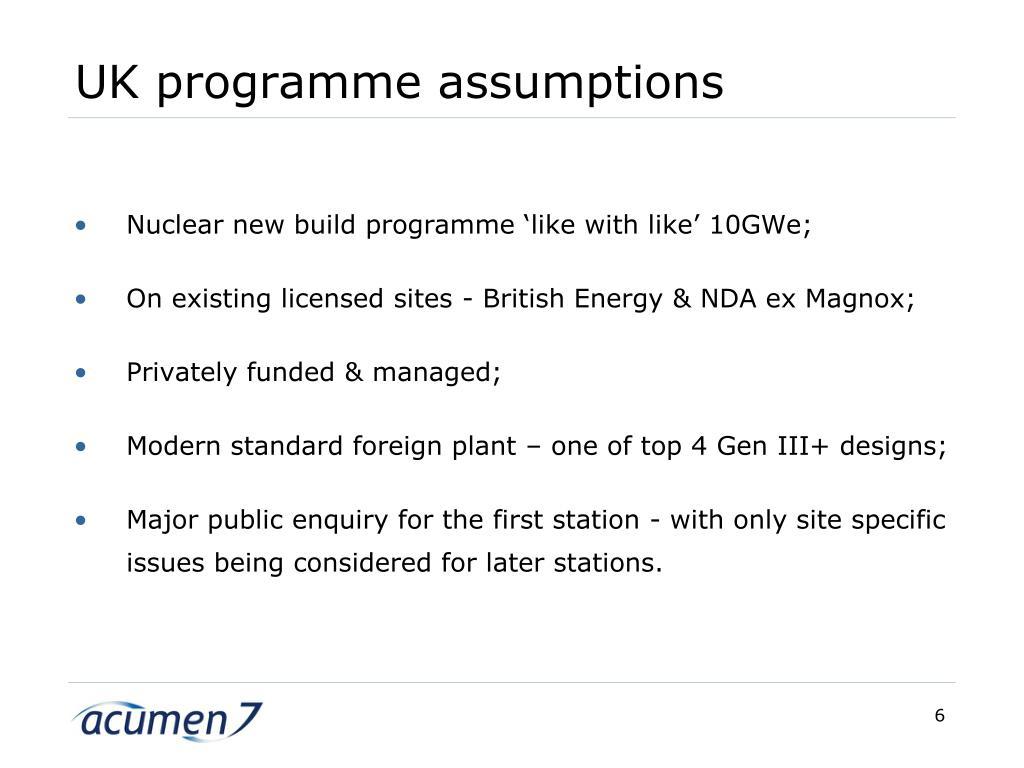 UK programme assumptions