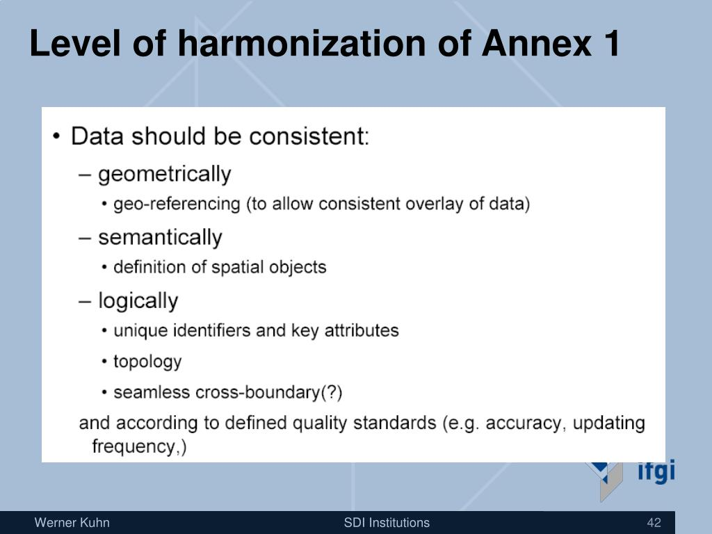 Level of harmonization of Annex 1