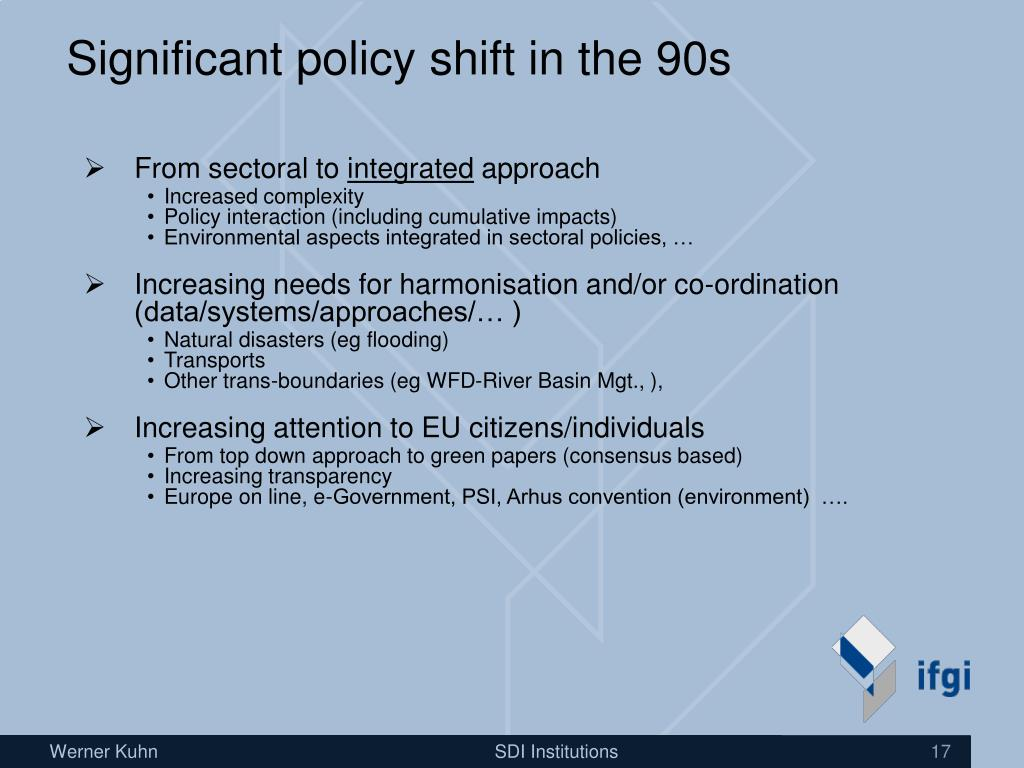 Significant policy shift in the 90s
