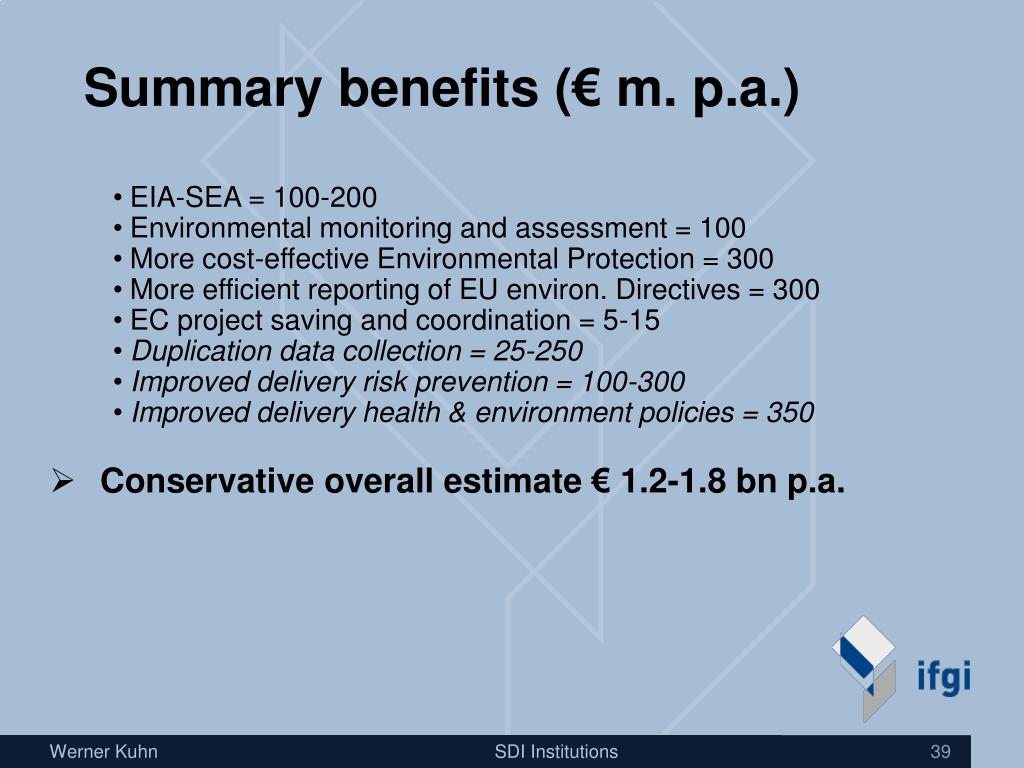 Summary benefits (€ m. p.a.)