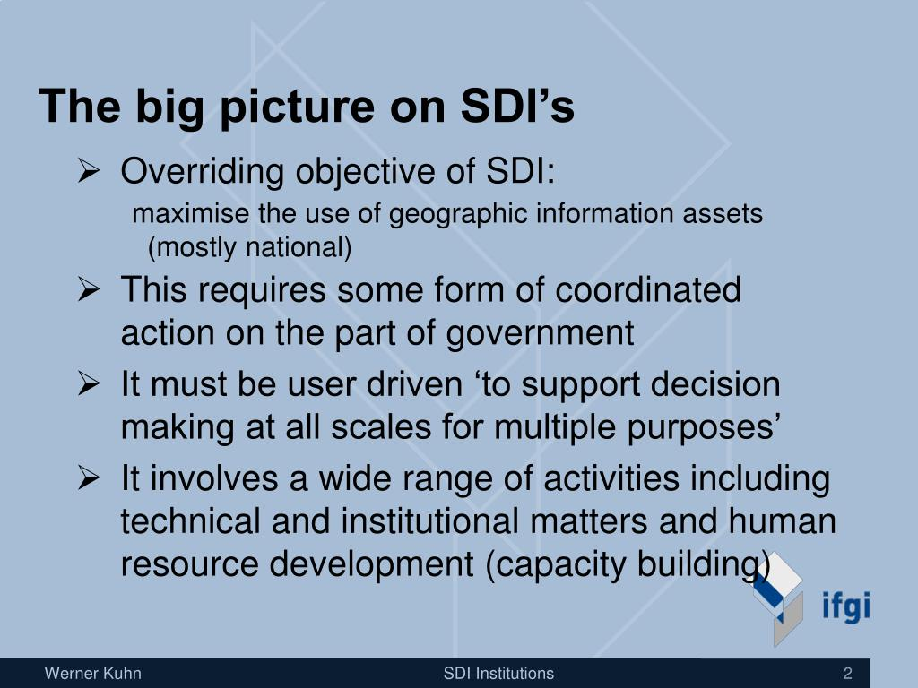 The big picture on SDI's