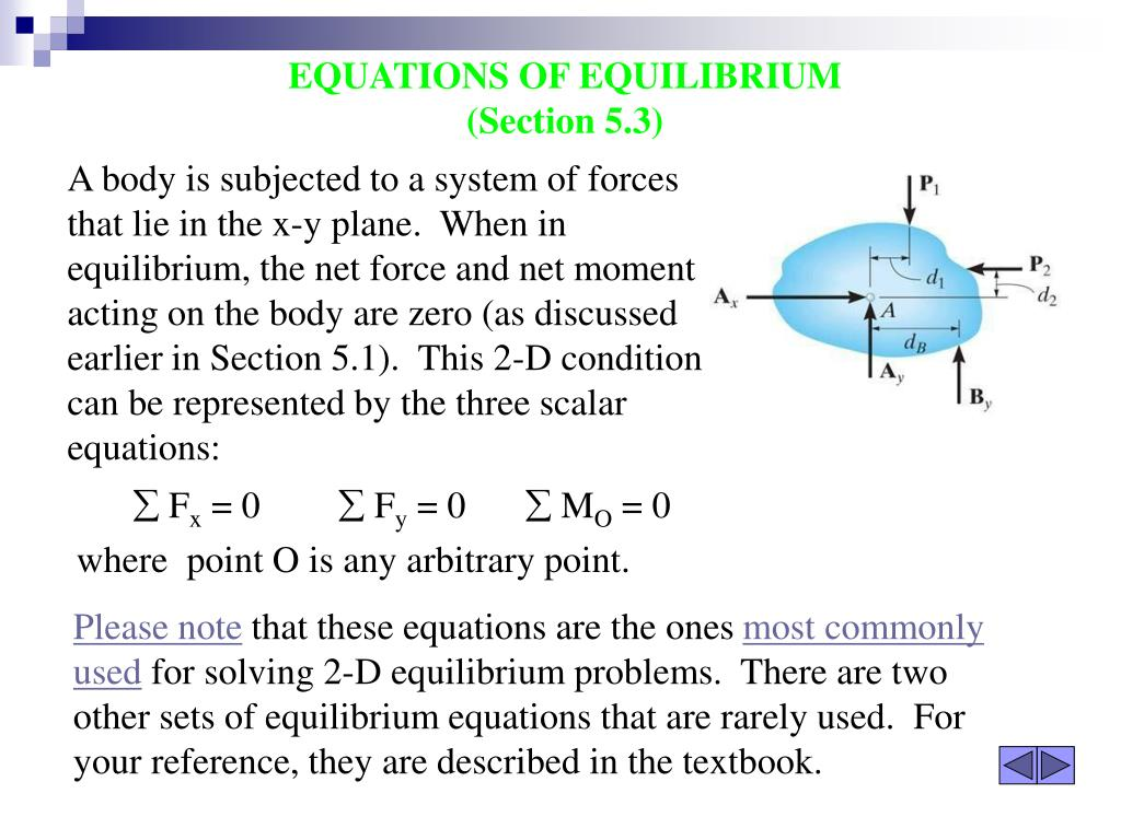 A body is subjected to a system of forces that lie in the x-y plane.  When in equilibrium, the net force and net moment acting on the body are zero (as discussed earlier in Section 5.1).  This 2-D condition can be represented by the three scalar equations: