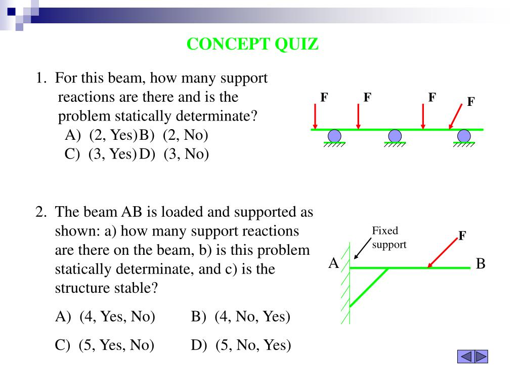 1.  For this beam, how many support reactions are there and is the problem statically determinate?