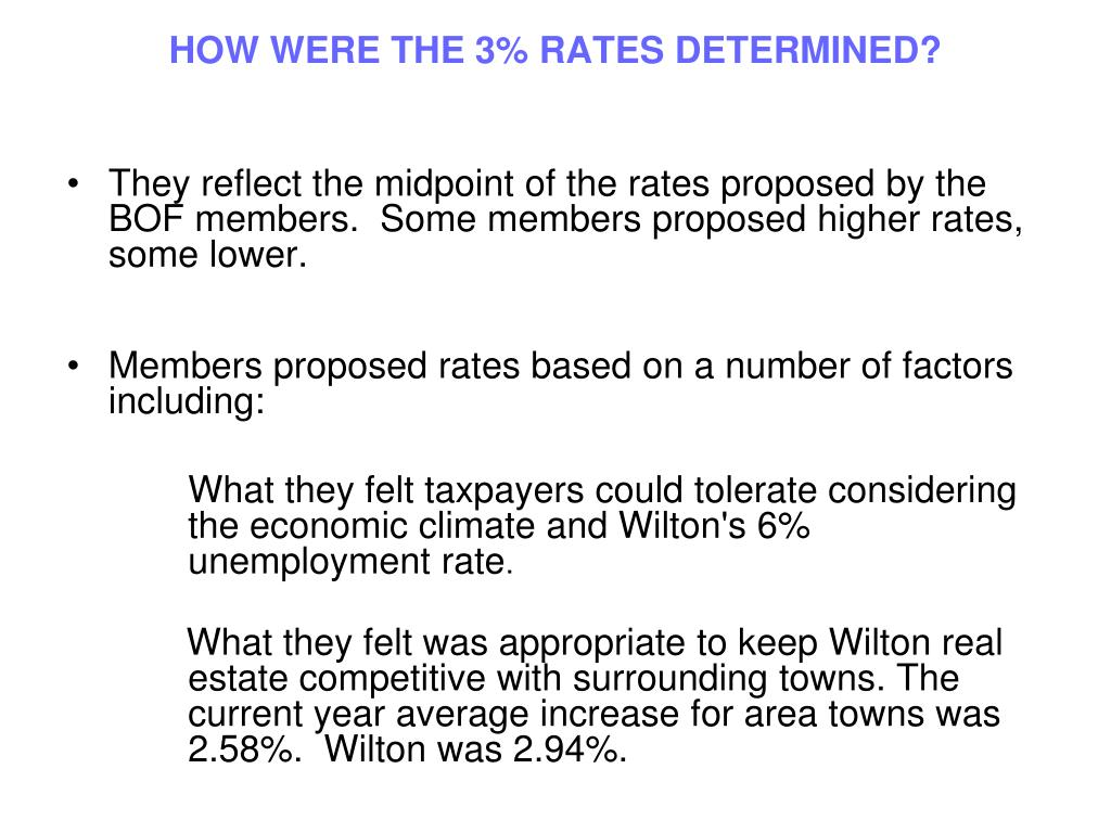 HOW WERE THE 3% RATES DETERMINED?