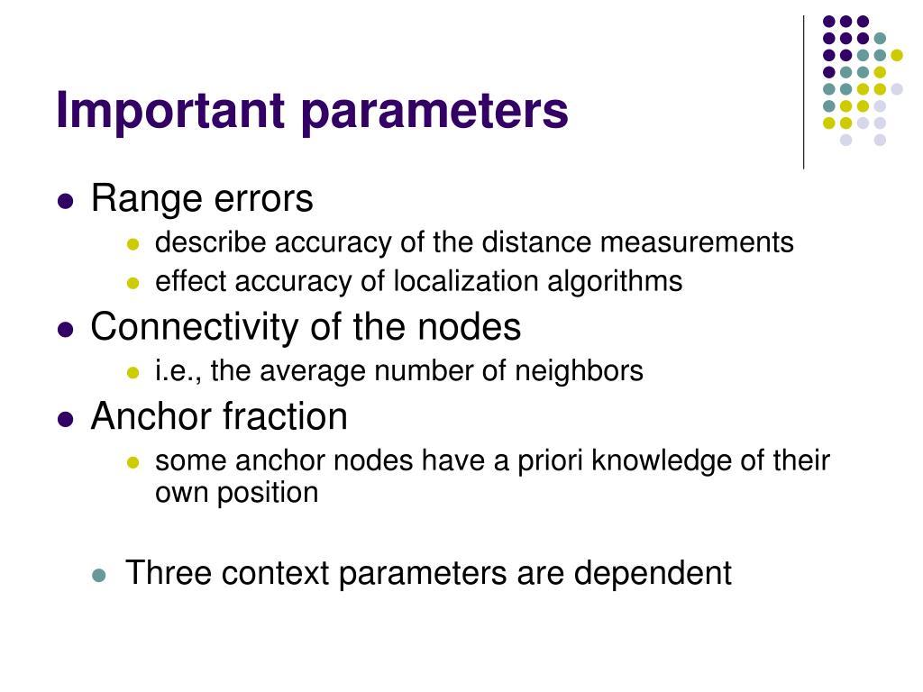 Important parameters