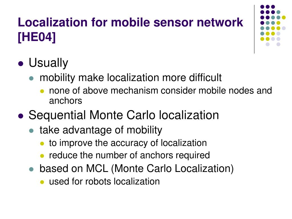 Localization for mobile sensor network [HE04]