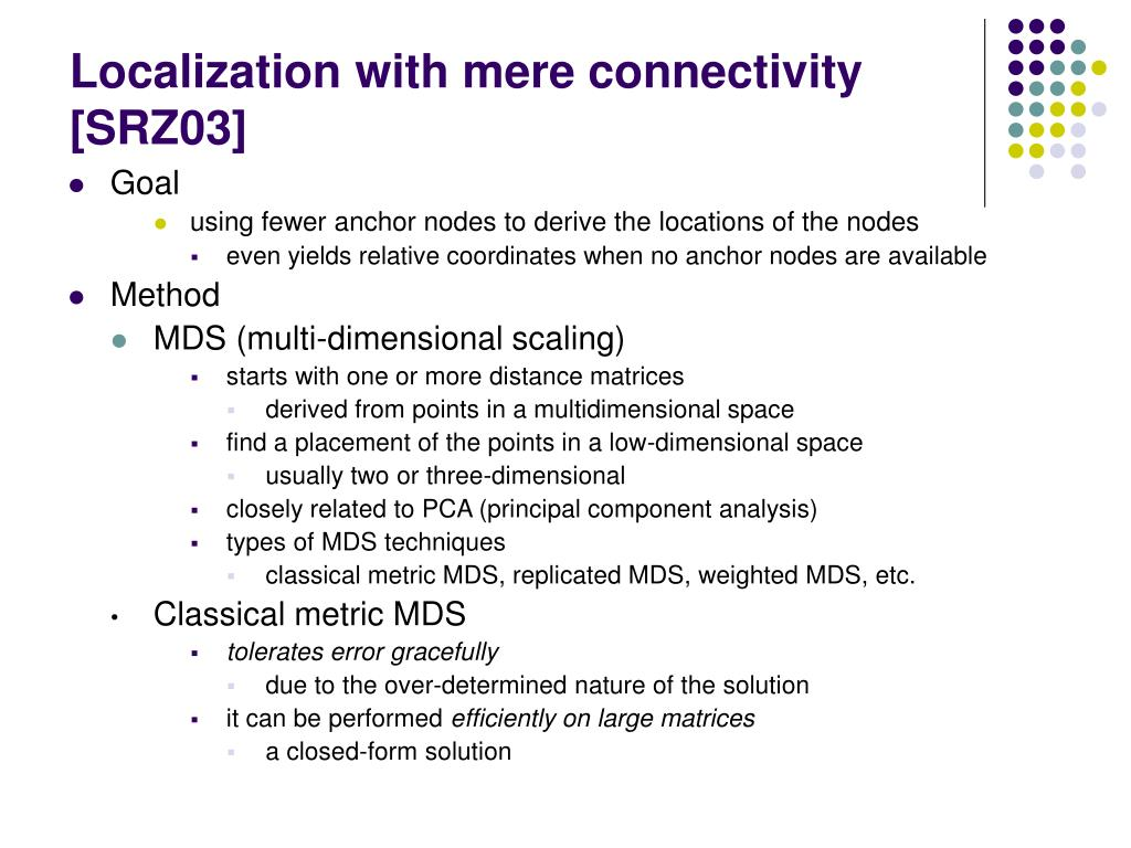 Localization with mere connectivity [SRZ03]