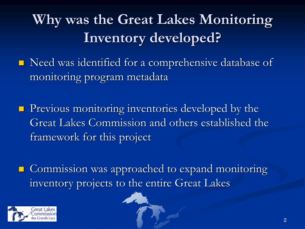 Why was the Great Lakes Monitoring Inventory developed?