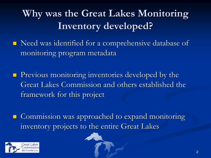 Why was the great lakes monitoring inventory developed