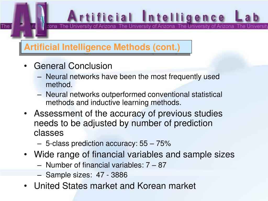 Artificial Intelligence Methods (cont.)