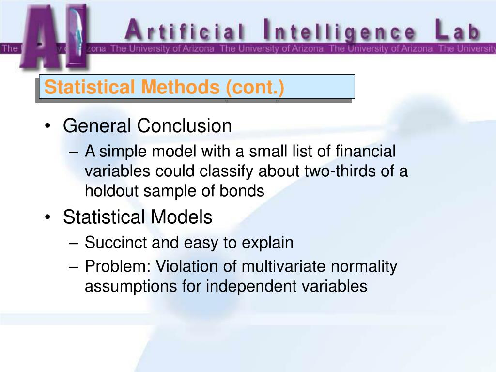 Statistical Methods (cont.)