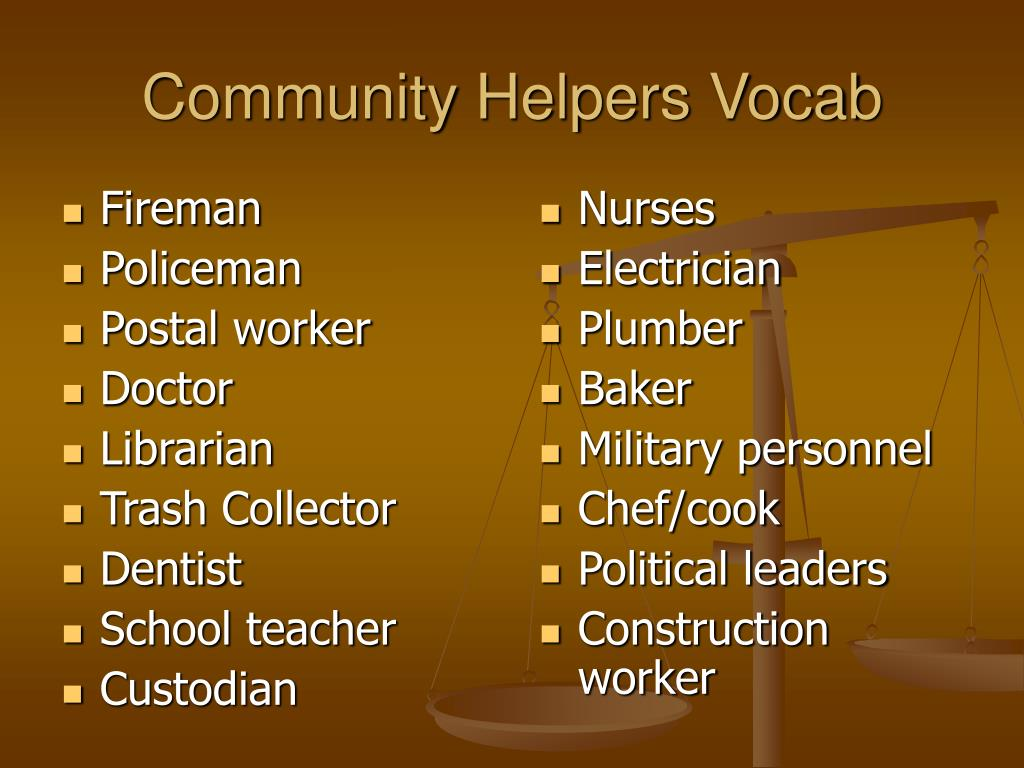 Community Helpers Vocab