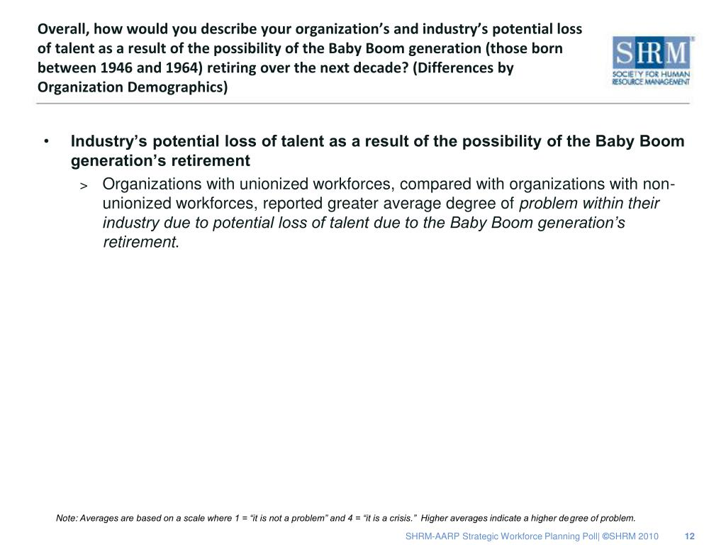 Overall, how would you describe your organization's and industry's potential loss of talent as a result of the possibility of the Baby Boom generation (those born between 1946 and 1964) retiring over the next decade? (Differences by Organization Demographics)
