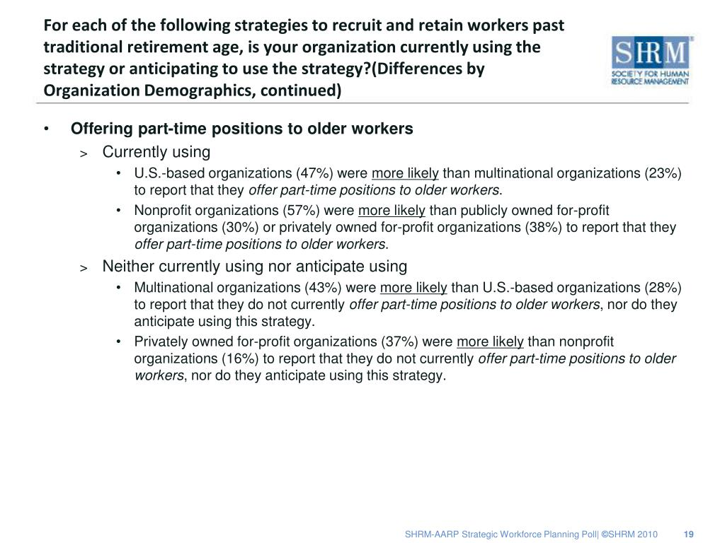 For each of the following strategies to recruit and retain workers past traditional retirement age, is your organization currently using the strategy or anticipating to use the strategy?(Differences by Organization Demographics, continued)