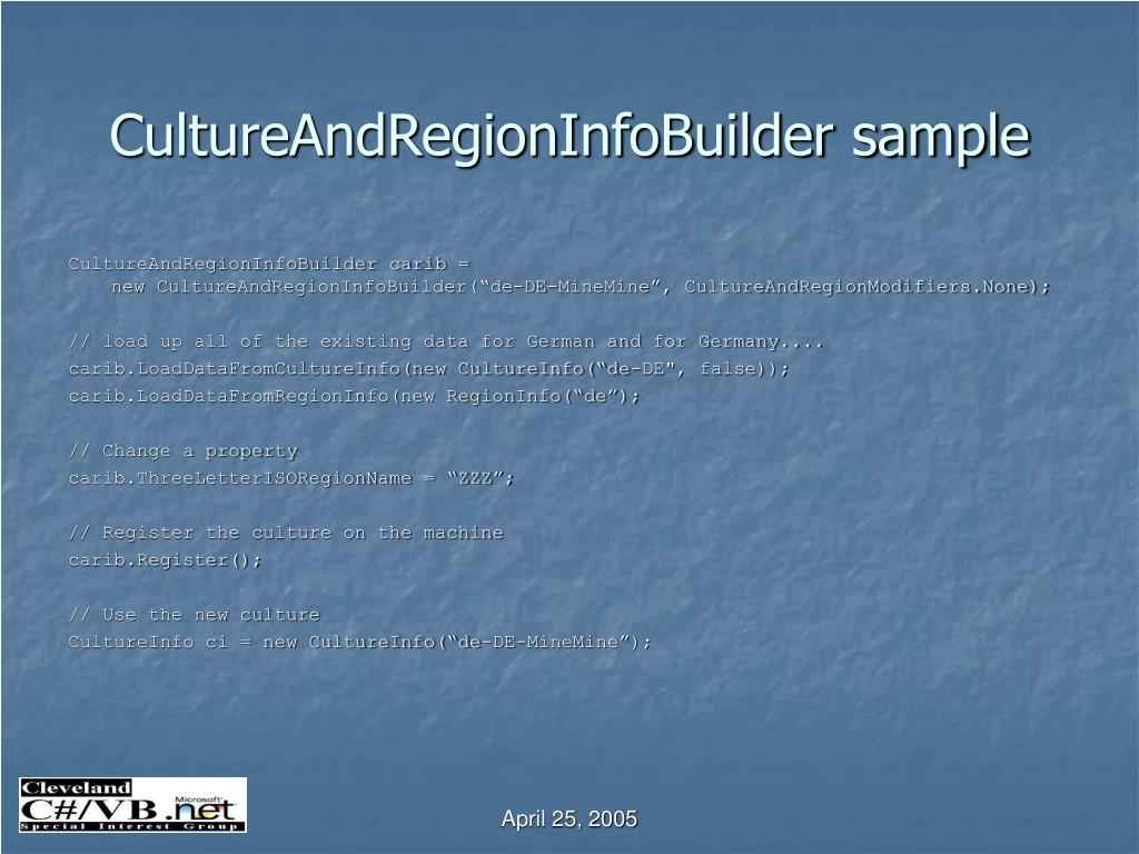 CultureAndRegionInfoBuilder sample