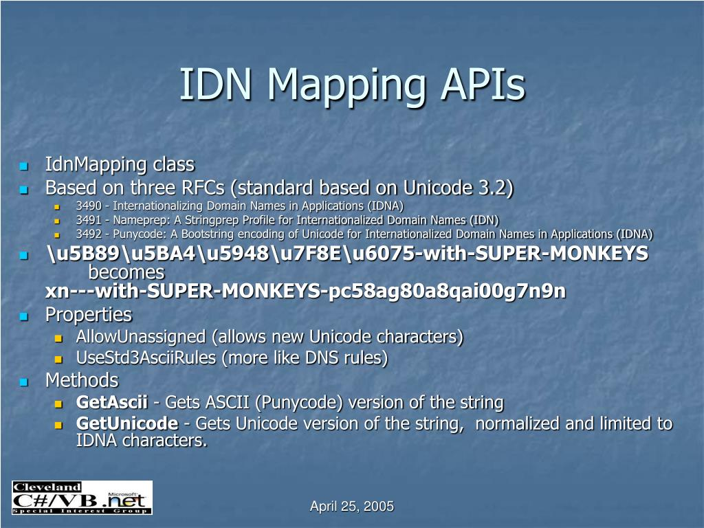 IDN Mapping APIs