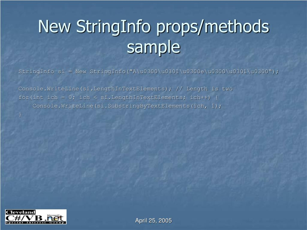 New StringInfo props/methods sample