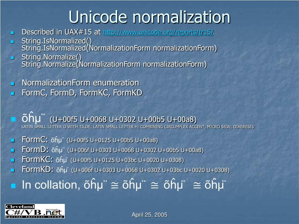 Unicode normalization