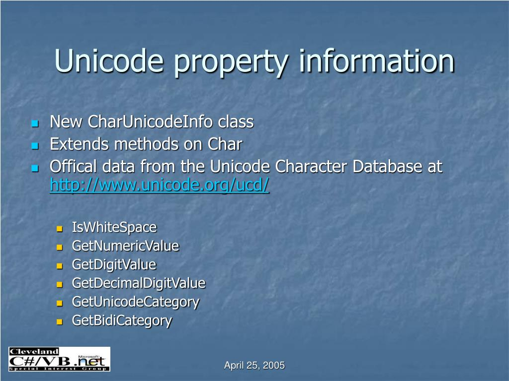 Unicode property information