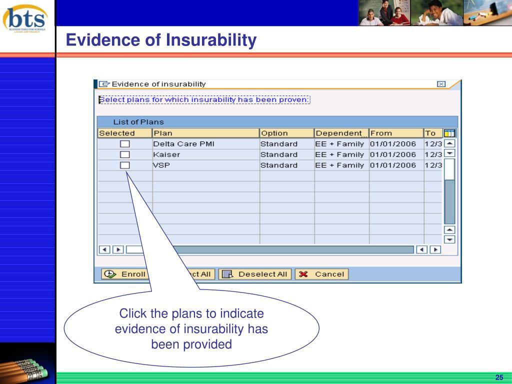 Evidence of Insurability