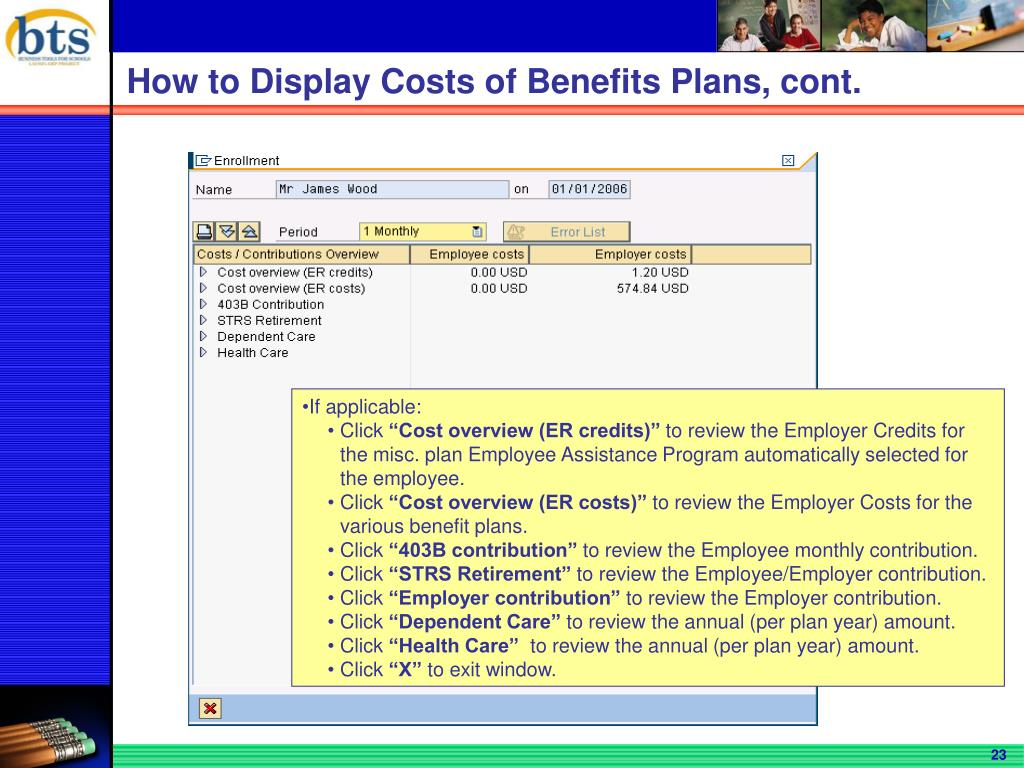 How to Display Costs of Benefits Plans, cont.