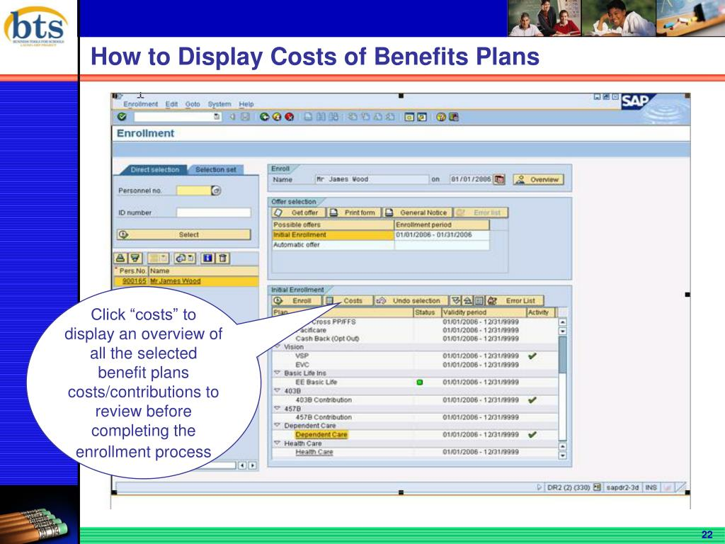 How to Display Costs of Benefits Plans