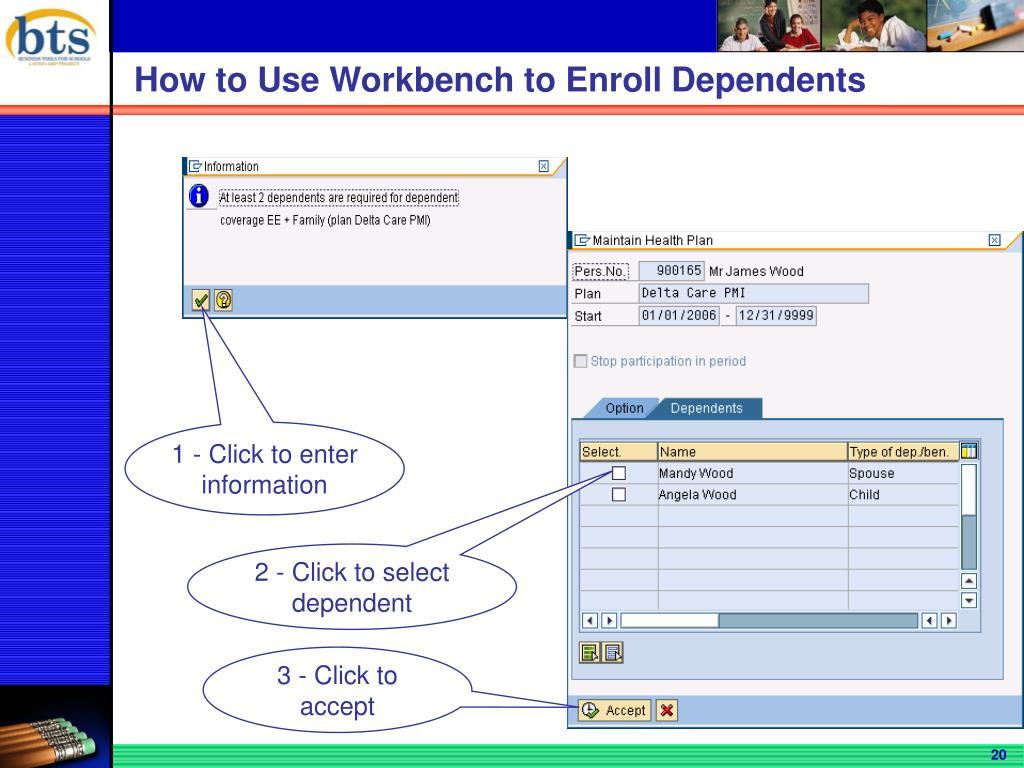 2 - Click to select dependent