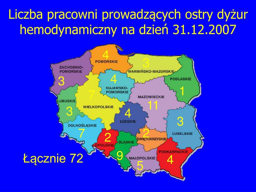 Liczba pracowni prowadzących ostry dyżur hemodynamiczny na dzień 31.12.2007
