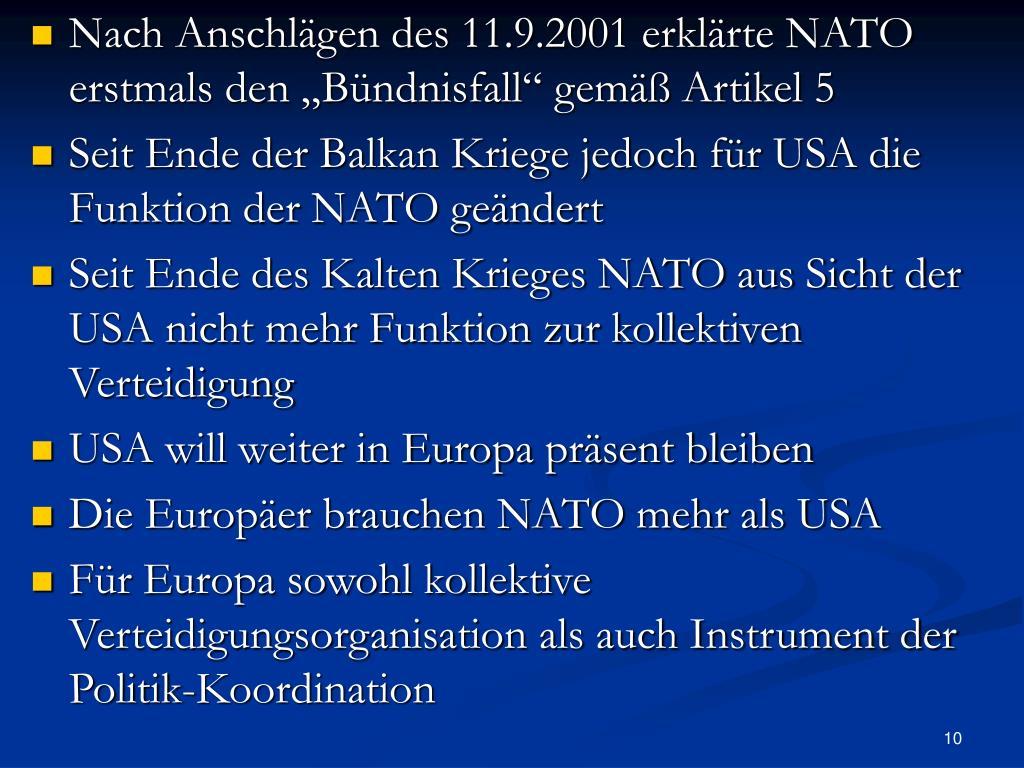 """Nach Anschlägen des 11.9.2001 erklärte NATO erstmals den """"Bündnisfall"""" gemäß Artikel 5"""
