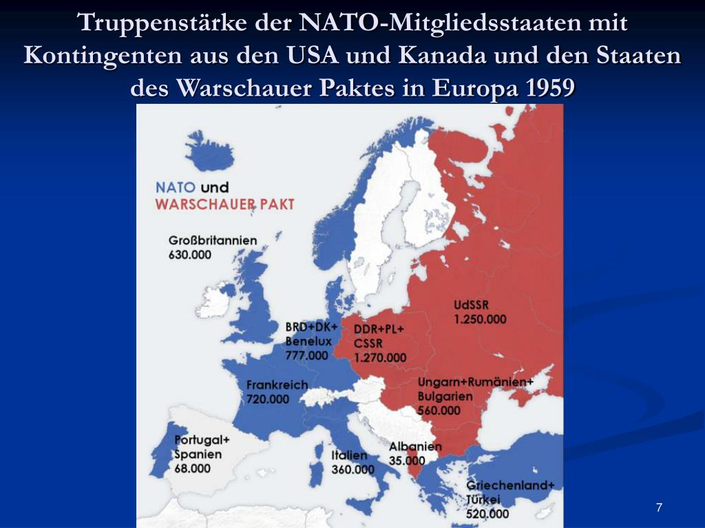 Truppenstärke der NATO-Mitgliedsstaaten mit Kontingenten aus den USA und Kanada und den Staaten des Warschauer Paktes in Europa 1959
