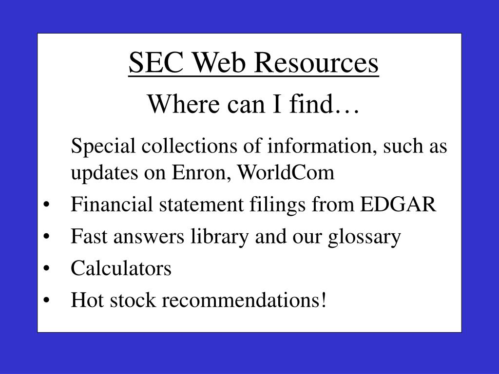 SEC Web Resources