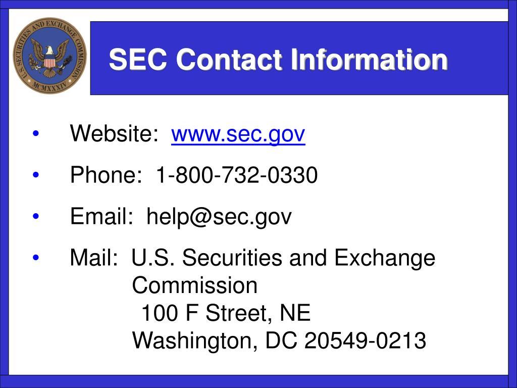 SEC Contact Information