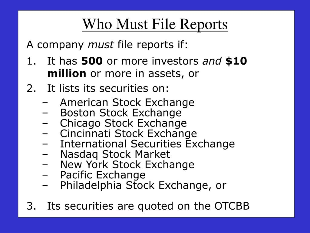 Who Must File Reports