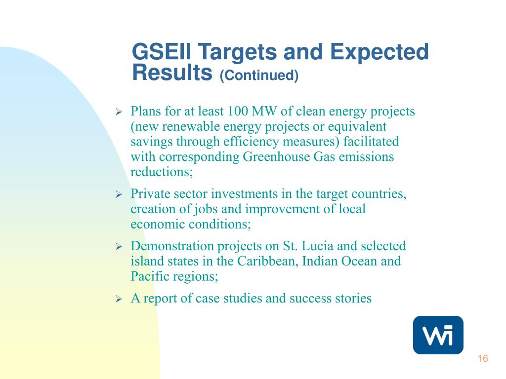 GSEII Targets and Expected Results