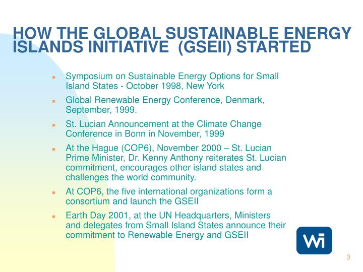 How the global sustainable energy islands initiative gseii started
