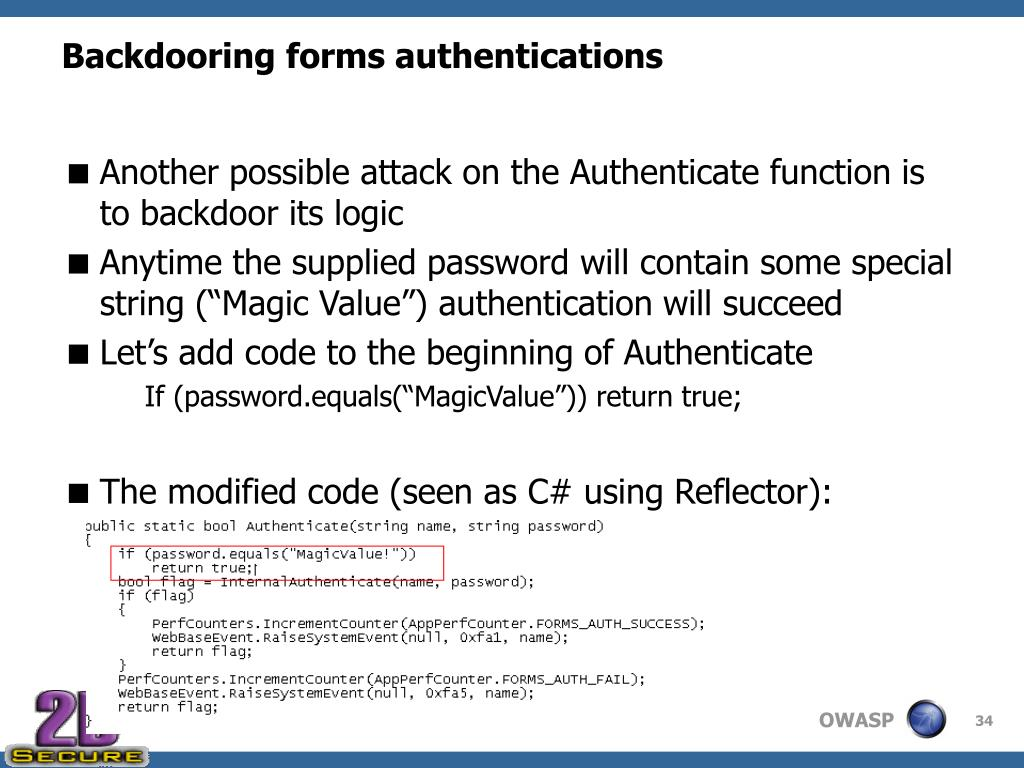 Backdooring forms authentications