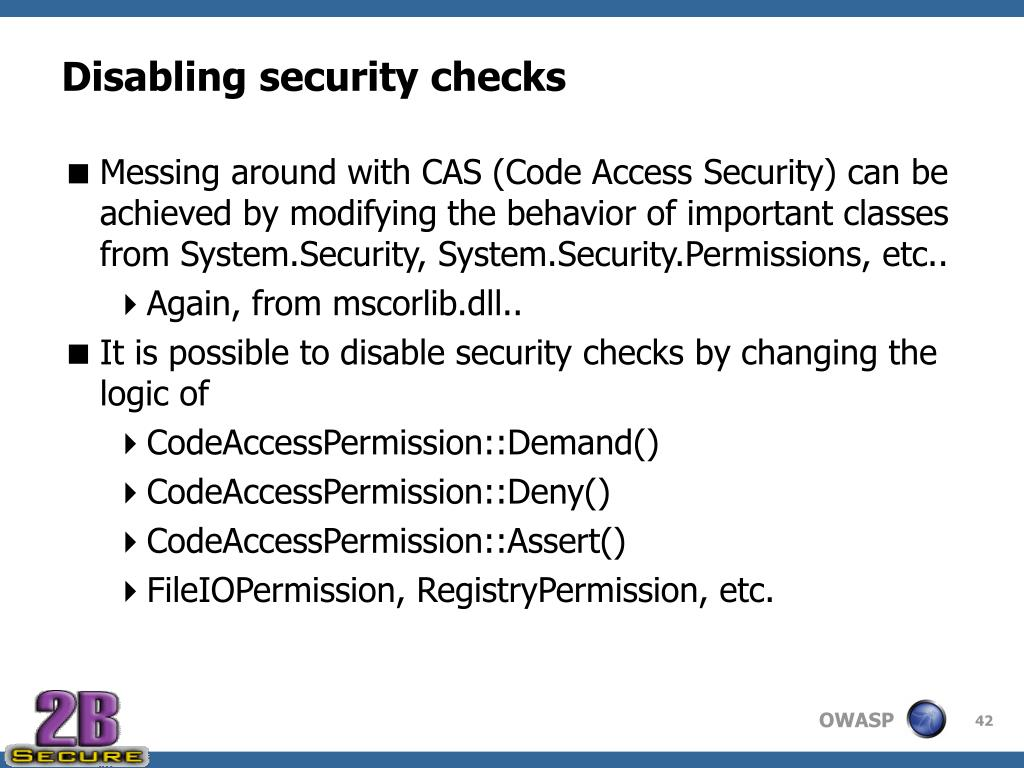 Disabling security checks