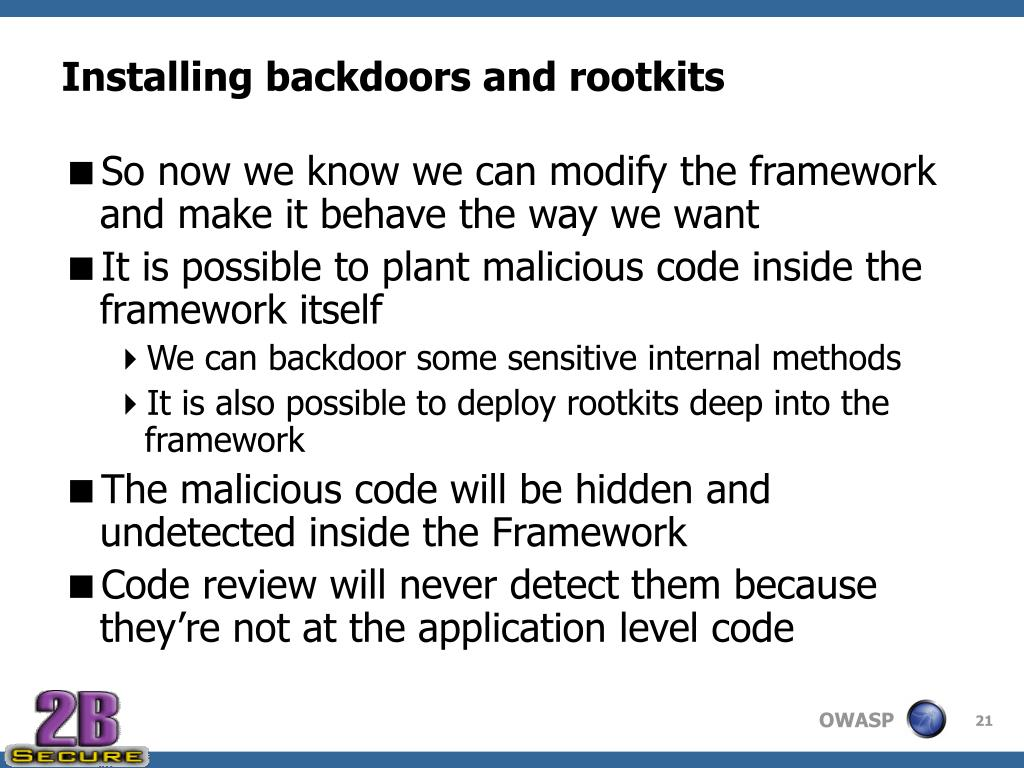 Installing backdoors and rootkits