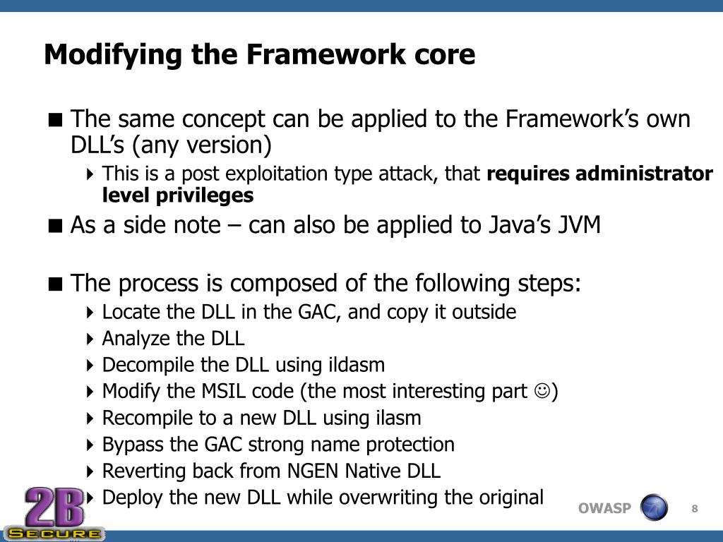 Modifying the Framework core