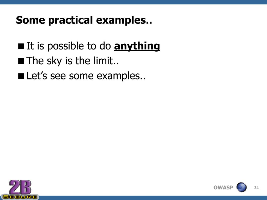 Some practical examples..