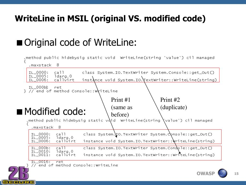 WriteLine in MSIL (original VS. modified code)