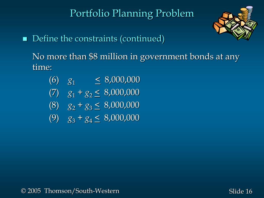 Portfolio Planning Problem